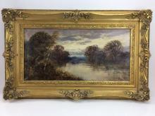 Signed River Landscape Oil on Canvas