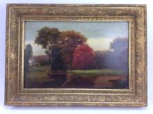 Farm House Landscape Oil on Board