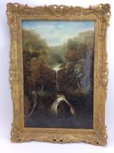 Edward Priestley Waterfall Landscape Oil on Canvas