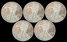 5 Uncirculated 2009 Silver Eagle Dollar