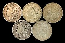 4 Circulated Morgan, 1 Peace Silver Dollar