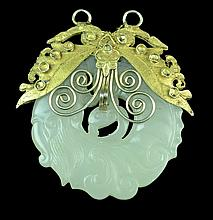 Vintage Carved Serpentine Bird Pendant