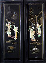 4 Asian Black Lacquered Panels, Applied Figures