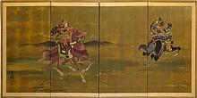 Signed 4-Panel Japanese Folding Screen, Samurai
