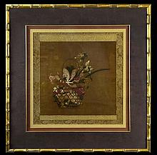 Asian Floral Print in Faux Bamboo Frame