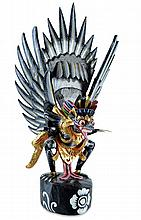 Bali God Garuda, Carved & Polychrome Painted