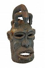 African Carved Wood Helmet Mask w/ Scarification