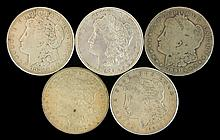 5 Circulated Morgan Silver Dollar