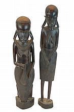 PAIR African Maasai Makonde Ebony Carved Figure