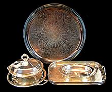 5 Pcs. Silver Plate Serving Tray & Bowl Lot