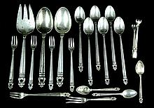19 Pcs. Royal Danish Sterling Silver Flatware