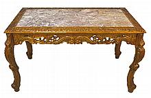 Carved Contemporary Table with Inset Marble