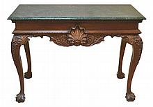 Green Marble Top Table, Carved Legs