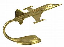 Brass U.S. Military Fighter Jet, Desk Model 9.5