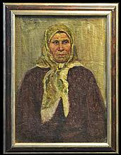 1953 Russian Oil Painting, Signed, Peasant Woman