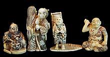 (4) Pcs. Japanese Carved Ivory Netsuke Lot