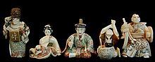 (5) Pcs Japanese Carved Ivory Figure & Netsuke Lot