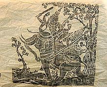 4 Pcs. Rubbing Lot & Buddha Scroll