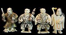(4) Pcs. Japanese Carved Ivory Netsuke Lot #2