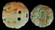 PAIR Carved Jade Floral Talisman Pendants