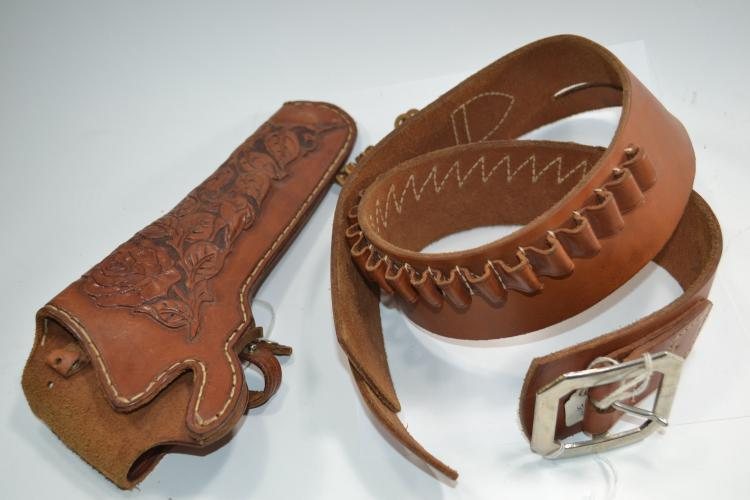 Vintage Hunter 155 Bandolier Belt With Stamped Leather Holster