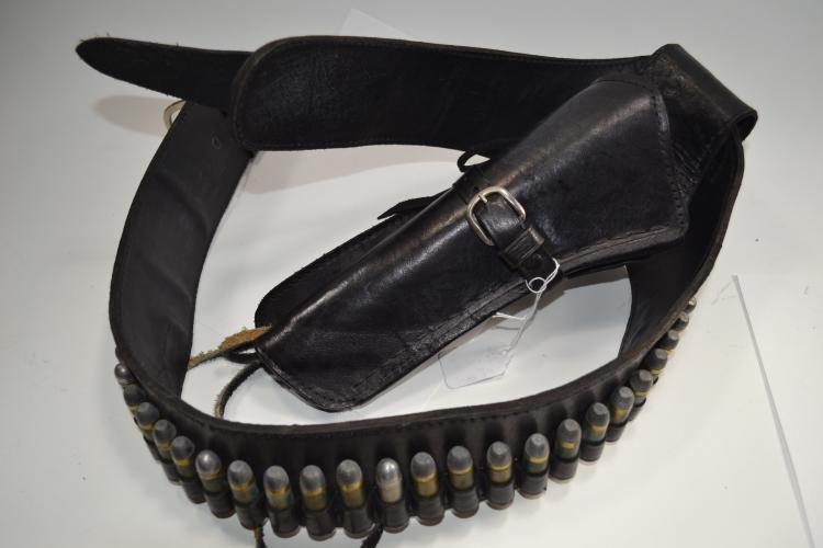 Vintage 45 Colt Leather Bandolier Belt With Holster