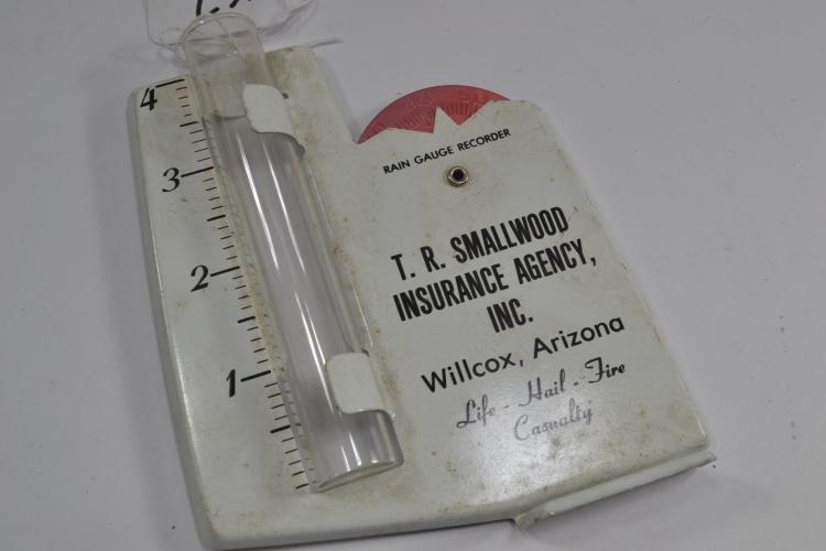 Vintage Tr Smallwood Insurance Agency Willcox Arizona Rain Meter Gauge