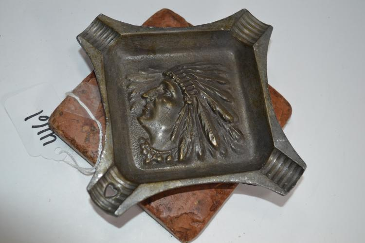Antique Bronze Indian Chief Stone Base Cigar Ashtray