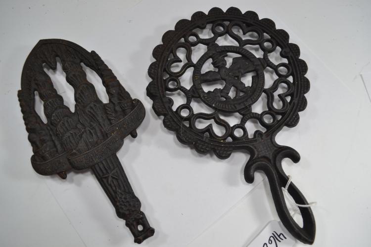 2 Vintage Decorative Cast Iron Trivets