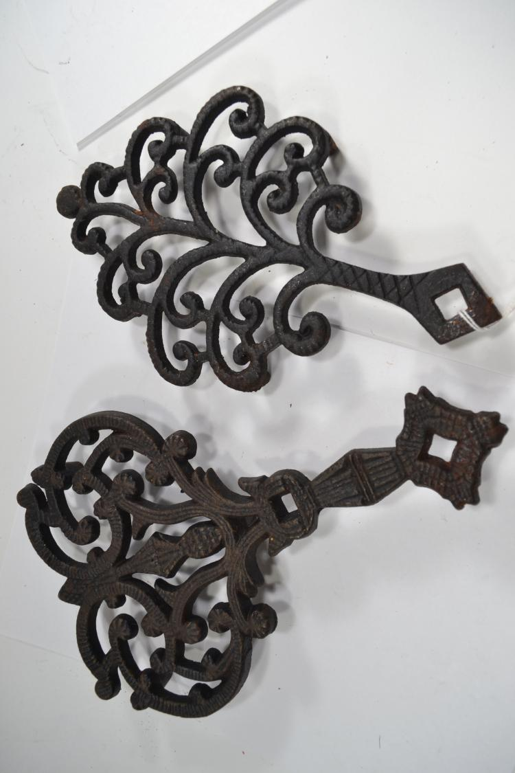 2 Vintage Decorative Cast Iron Trivets