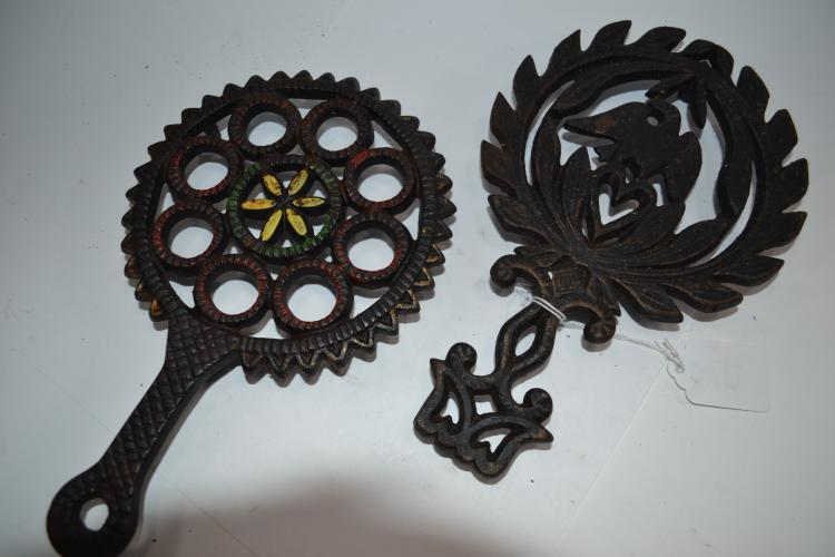 2 Decorative Cast Iron Trivets