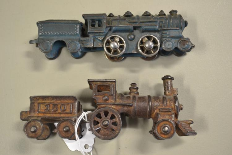 2 Antique Cast Iron Train Locomotive Toys