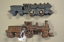 2 Antique Cast Iron Train Locomotive Toys