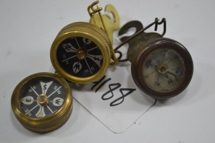 3 Vintage Brass Marbles Brand Compasses