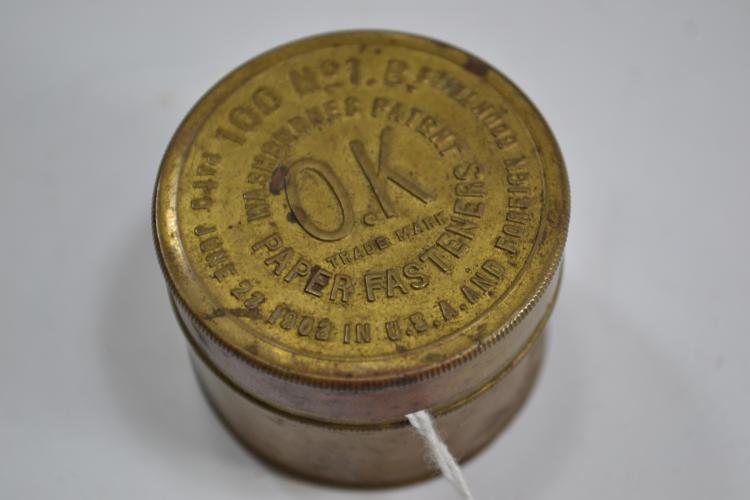 Antique 1903 Washburnes Patent Ok Paper Fasteners Tin