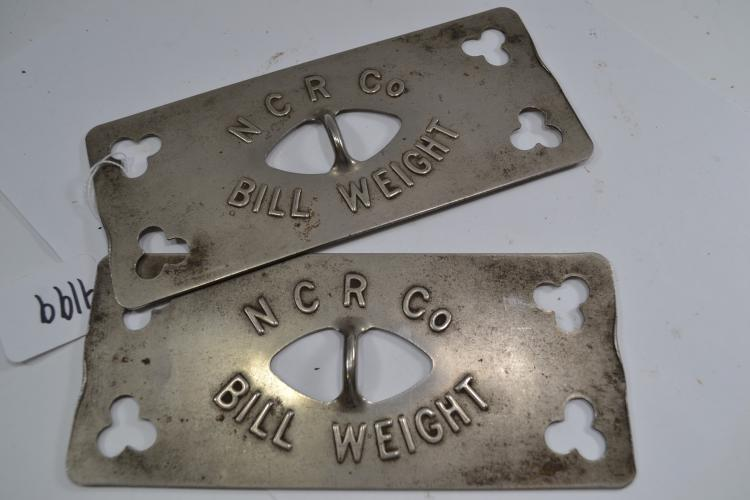 2 Antique National Cash Register Company Bill Weights