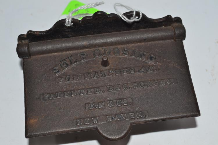 1864 DM And Company Self-Closing Cast Iron Match Safe With Striker