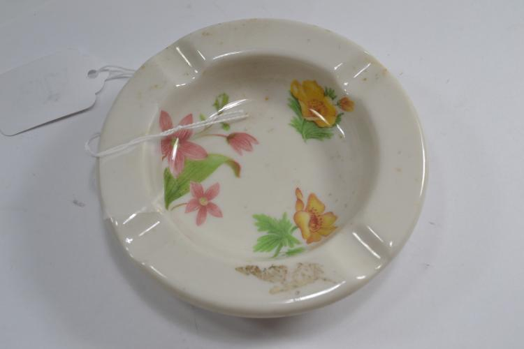 Antique Syracuse China Great Northern Railway Floral Porcelain Ashtray