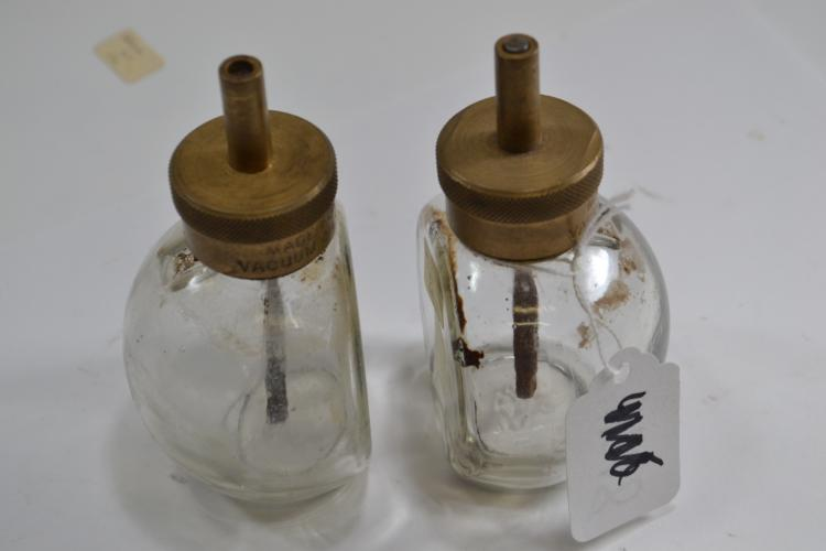 2 Vintage Vacuum Oil Company Glass Oiler Canisters