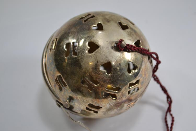 Vintage Silver Plated Brass Incense Ball