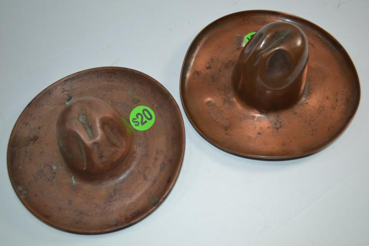 2 Vintage Copper Cowboy Hat Ashtrays