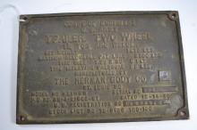 Vintage 1950 Army Corps Of Engineers Arc Welder Trailer Plaque