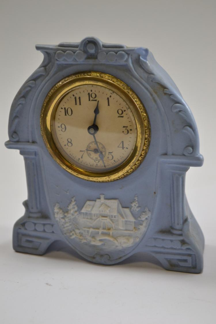 Antique Waterbury Clock Company Porcelain Desk Clock