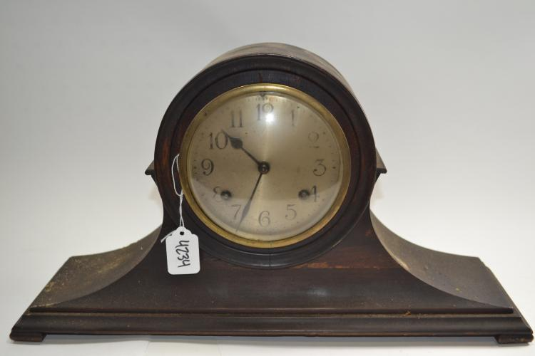Antique New Haven Clock Company Wood Mantel Clock Brass Mechanism