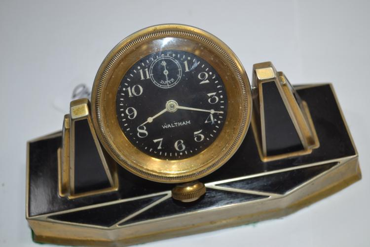 Antique Waltham Manual Wind Art Deco Desk Clock