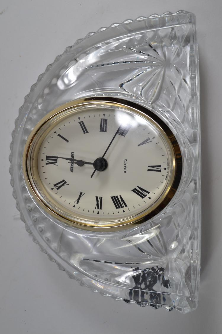 Staiger Quartz German Clock In French Pressed Glass Body