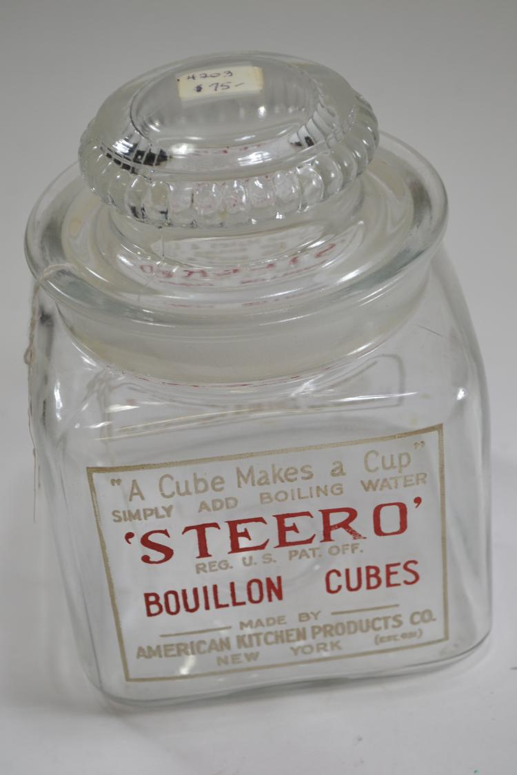 Antique Glass Steero Bouillon Cube Jar