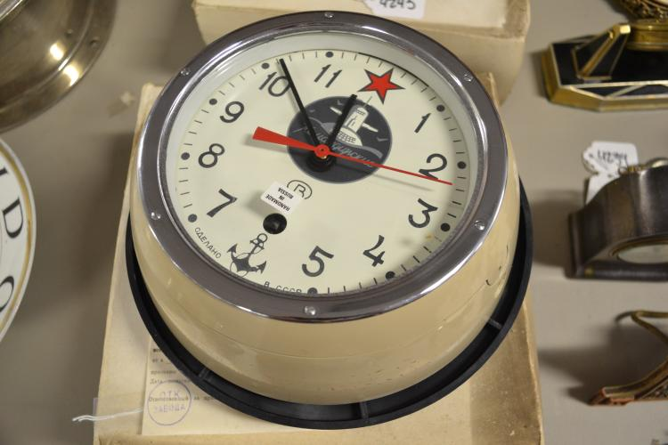 Vintage Hand-Made Russian Submarine Wall Clock In Original Box