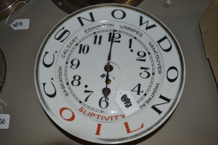 Antique C C Snowdon Oil Sliptivity Canadian Provinces Porcelain Plate Wall Clock