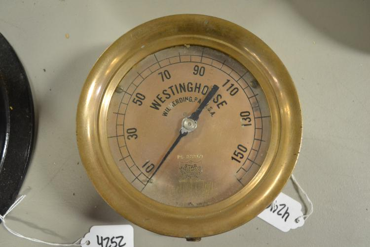 Antique Brass Westinghouse 160 Lb Pressure Gauge